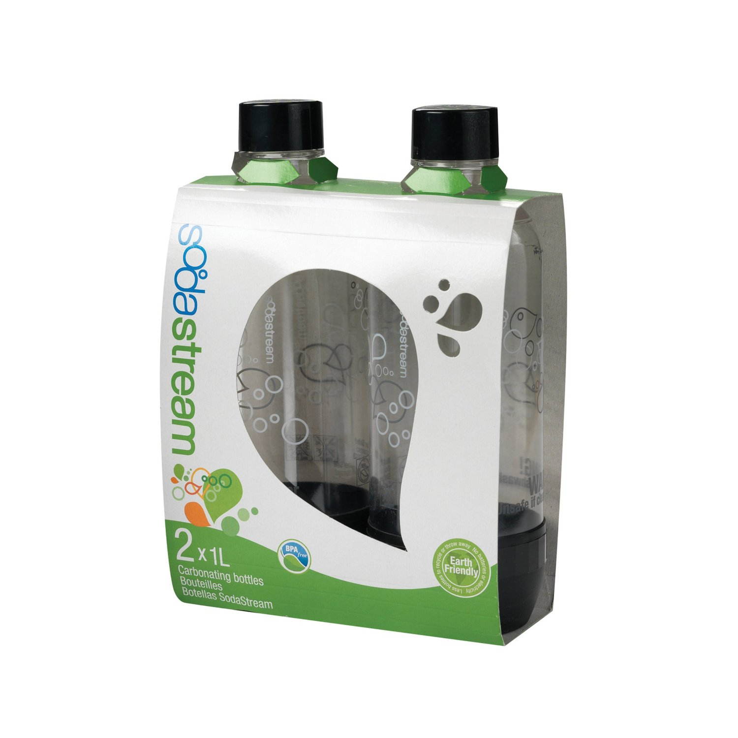 Sodastream 1L Carbonating Bottles Black Twin Pack